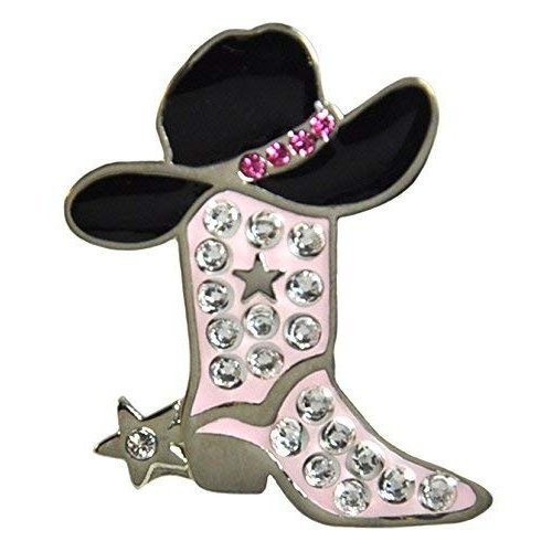 Adorable ピンク Cowgirl Boot Ballmarker Accented by Genuine. Crystals with