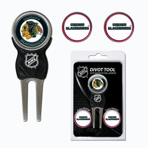 チームゴルフChicago 黒hawks NHL Divot Tool Pack w /署名ツールtgo-13545