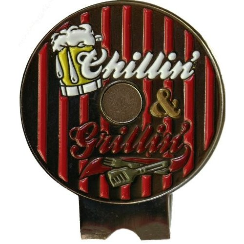 T-Bone Steak on the Grill Golf Ball Marker and Matching Chillin' and