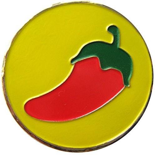 Chili Pepper withイエロー背景ゴルフボールマーカー& Matchingハットクリップ