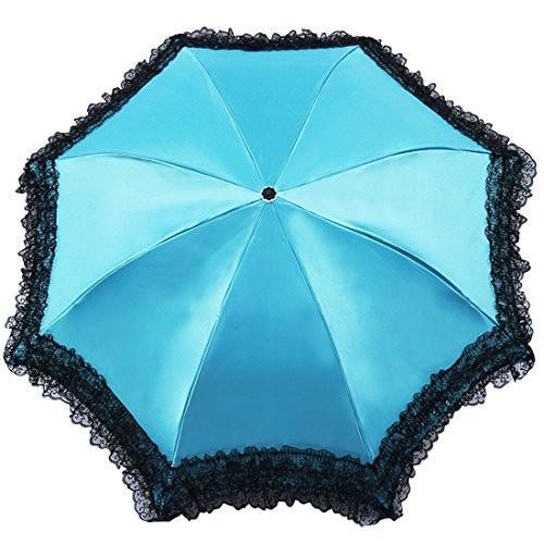 レースサテンUltralight Sun/Rain傘紫外線対策傘トリプル折りたたみUV保護されたParasol カラー: ブルー