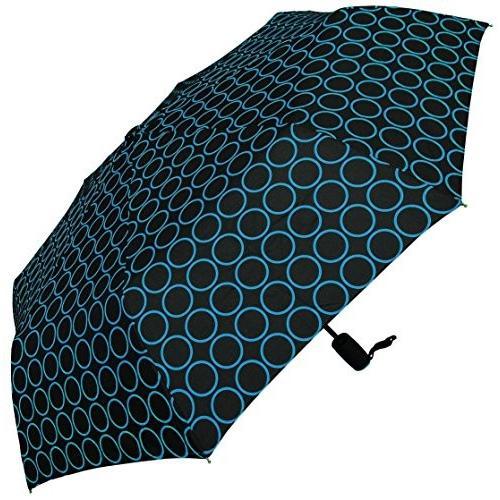 RainStoppers W072 Open Auto Close Mini Arc Umbrella with Circle Print,