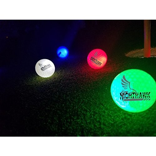 4 Nighthawk Glow In Dark LED Light Up Golf Balls Official Size Weight