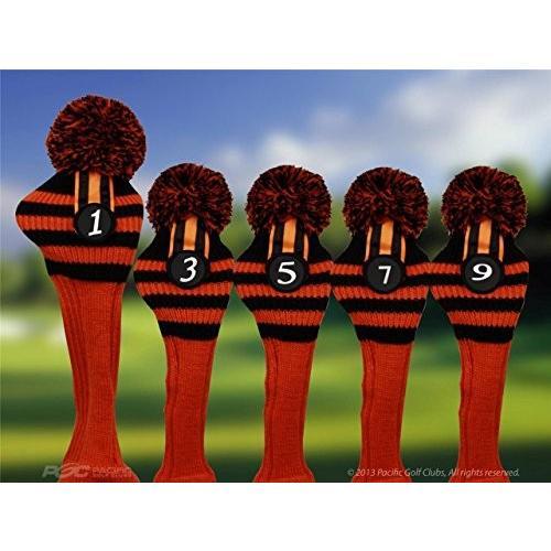 Pacificゴルフクラブヘッドカバー1*3*5*7*9ブラックandオレンジニットレトロ古い学校ヴィンテージストライプポンポン付きThrowback