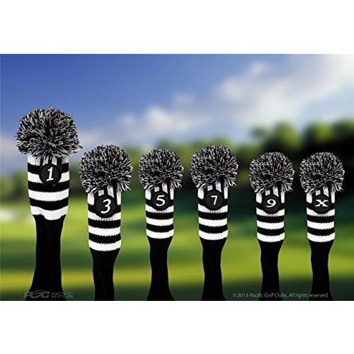 Pacificゴルフクラブヘッドカバー1*3*5*7*9*xブラックandホワイトニットレトロ古い学校ヴィンテージストライプポンポン付きThrowba