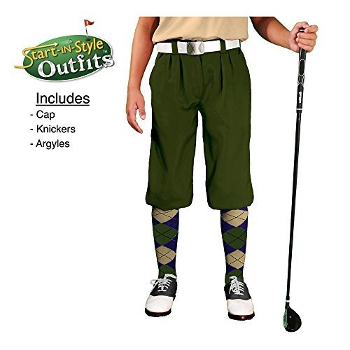 (L 14-16 (70cm ), Olive) - Start-In-Style Golf Knickers Outfit - Youth -