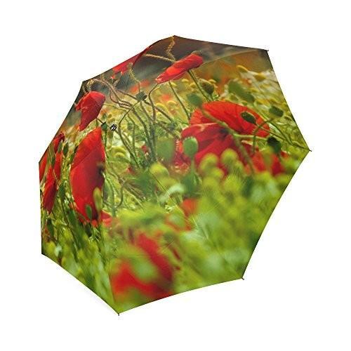 Friendsノベルティ誕生日ギフトPresents美しいケシPoppy花100*%生地とアルミニウム高品質折りたたみ式傘