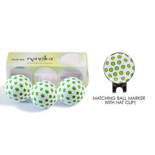 グリーンポルカドットゴルフボール( 3*) & MatchingボールマーカーのスリーブW /帽子クリップセット