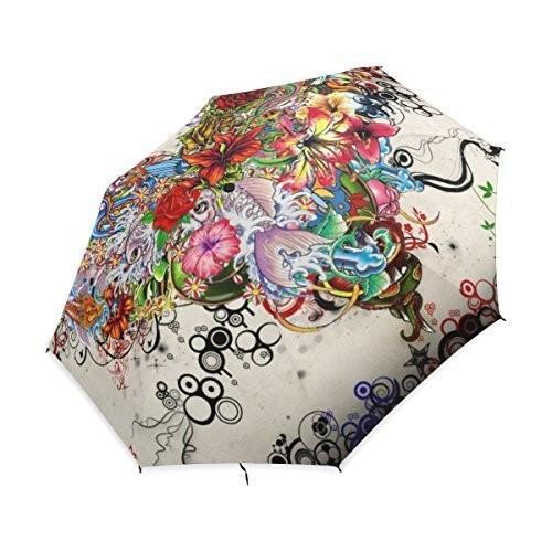 baihuishop防風ゴルフ傘、コンパクトで旅行for Easy Carryingスポーツ雨傘***強力なフレーム壊れない花柄ハートアートパターン
