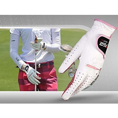 プロフェッショナルレディースゴルフグローブゴルフギフト、ホワイト&ピンク(# 19*)