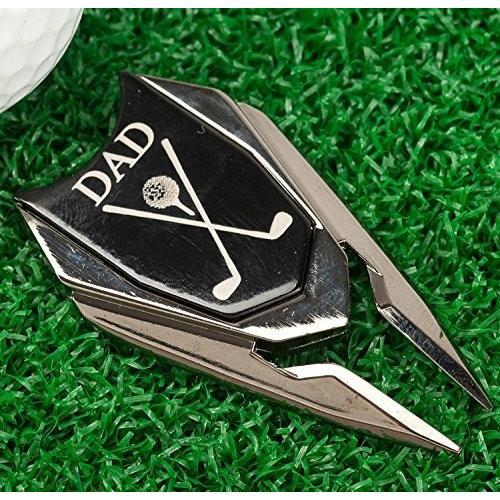 Dad刻印ゴルフギフトDivot Tool and Ball Marker (ブラック)***Dad