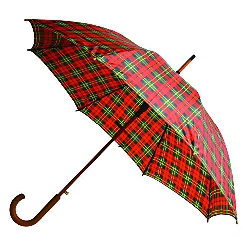 "RainbrellaクラシックAuto Open Umbrella with Real Woodenフックハンドル、赤/緑格子柄、46*"""