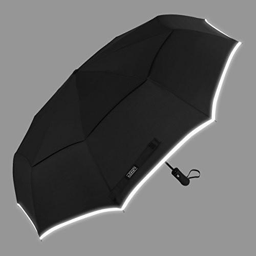 (黒/Reflective Stripe) - G4Free Compact Windproof Travel Umbrellas