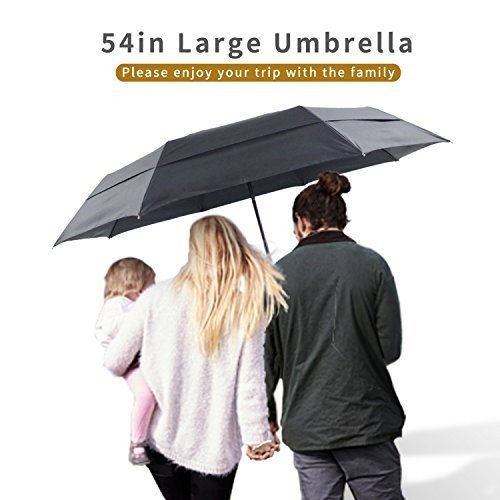 Lejorain Auto Large Folding Umbrella with Windproof Double Layer and
