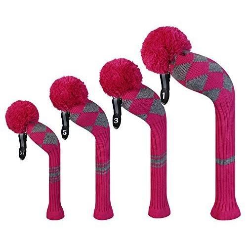 Scott Edward ローズ グレイ アーガイル ゴルフ クラブ ヘッドカバー、アクリル毛糸 二層編み、4枚セット