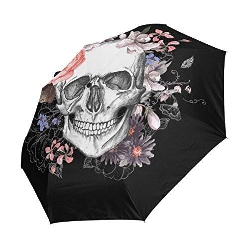 WOZO Floral Sugar Skull 3 Folds Auto Open Close Umbrella
