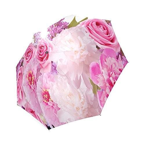 ファッション美しいバレンタインデーのピンクローズ折りたたみ防風アウトドア旅行傘の女性