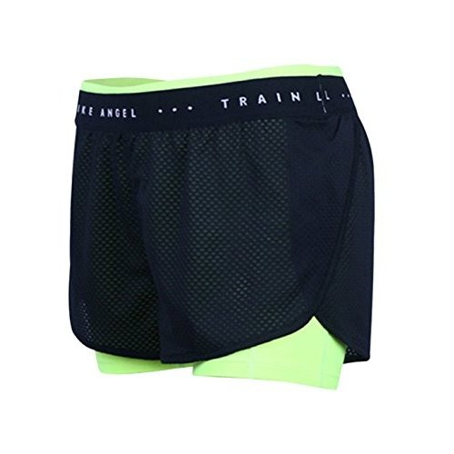 (US M / TAG L, 緑) - Women's 2 in 1 Sports Shorts with Inner Pocket