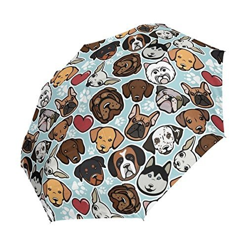 WOZO Hipster Paw Print Pug Dog 3 Folds Auto Open Close Umbrella