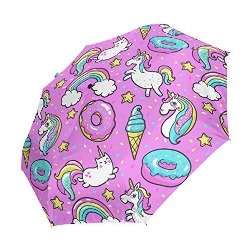 WOZO ピンク Unicorn Cat Ice Cream Donuts 3 Folds Auto Open Close Umbrella