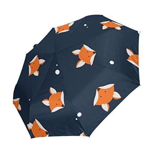 ALAZA Retro Polka Dot Cute Fox Head 3 Folds Auto Open Close Anti-UV