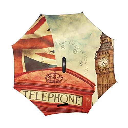 Alaza Invertedゴルフ傘レトロイギリスロンドン赤電話ボックスUVアンチ防水防風Reverse Folding Umbrellas