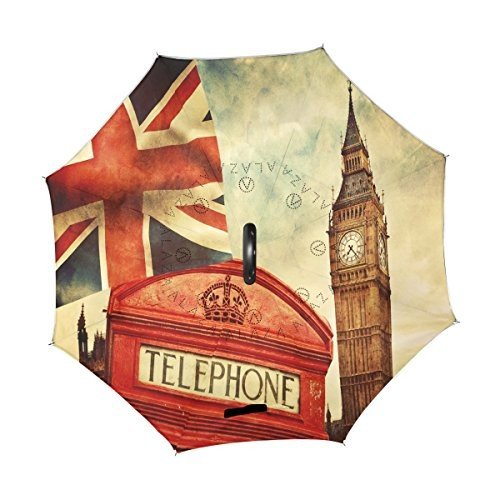 ALAZA Vintage Famous London Big Ben Union Jack Inverted Umbrella, Large