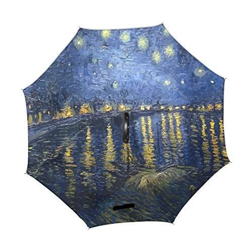 Alaza・ファン・ゴッホ夜月アート防風UV防止逆折りたたみ傘、ダブルレイヤー旅行逆傘C形状ハンドルの車使用