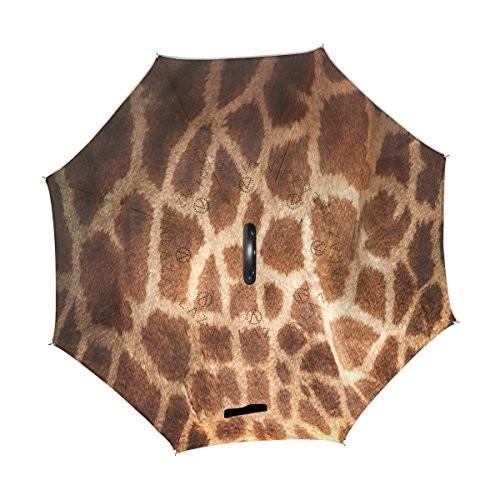 Alazaスタイリッシュなブラウンキリンスキン防風UV防止逆折りたたみ傘、ダブルレイヤー旅行逆傘C形状ハンドルの車使用