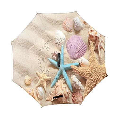 ALAZA Summer Sand Beach Starfish Seashell Inverted Umbrella, Large Double