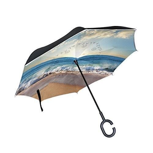 ALAZA Double Layer Inverted Beach Ocean Umbrella Cars Reverse Windproof