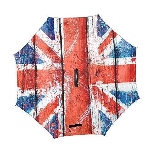 Alaza Inverted傘Mottledユニオンジャック国旗Wooden Plank UVアンチ防水防風Reverse Folding