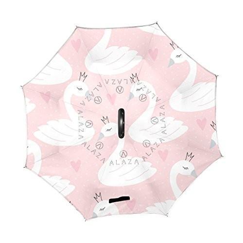 ALAZA Swan Princess Crown Heart Polka Dot Inverted Umbrella Double Layer