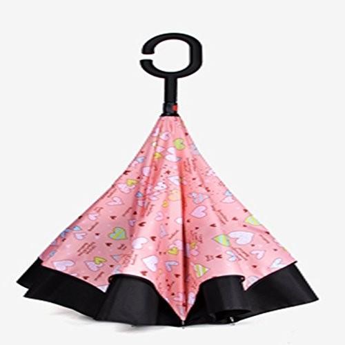 YONGLIANG 家庭用品は、傘をダブルリバースハンドヘルドの傘を折りたたむ男性と女性の逆余分な長い頭の長いパラソル ( 色 : ピンク ぴんく )