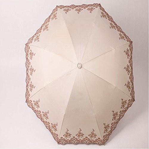 YONGLIANG 家庭用品ビニール傘Umbrellas Shading Embroidery Flowers二つ折りの太陽の傘の傘 ( 色 :