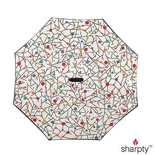 (白い Floral) - Sharpty Inverted Umbrella, Umbrella Windproof, Reverse
