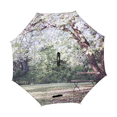 Orezi逆傘逆折り畳み傘二層防風雨UV保護傘C型のハンドル、車と屋外使用のセルフStanding傘ゴルフ傘の女性とメンズ