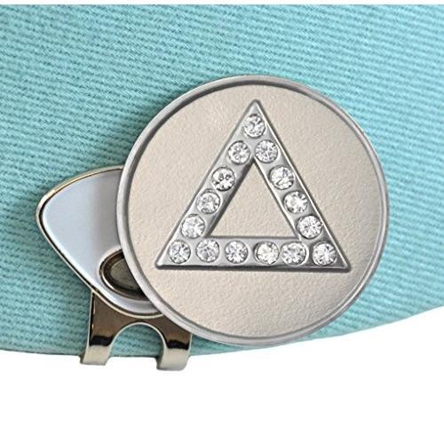 デルタゴルフボールマーカーAdorned with Swarovski Crystals (シルバー) with磁気帽子クリップ