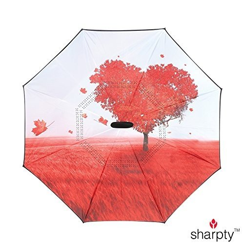 sharpty逆傘、傘防風、逆傘、傘の女性with UV保護、Upside Down傘C型のハンドル