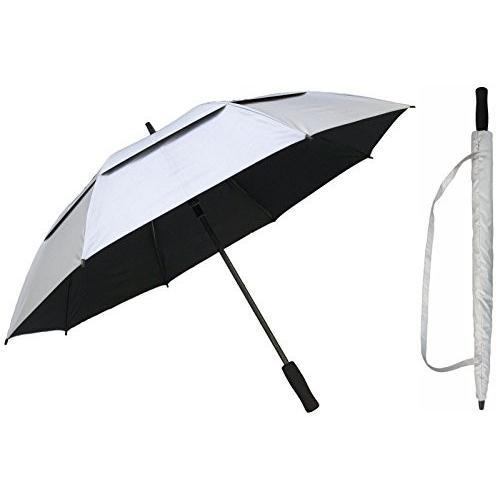 60インチシルバー&ブラックゴルフ傘***Vented