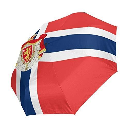 Chinein 旅行用傘 自動開き コンパクト 折りたたみ式 日除け&雨保護 ノルウェー国旗 ナショナルエンブレム