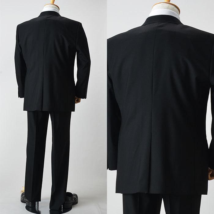 大きいサイズ 礼服 メンズ フォーマルスーツ ビッグ おおきい ゆったり 濃染加工 2つボタン シングル 深みブラックスーツ アジャスター付 黒 喪服  冠婚葬祭|shirt-style|11