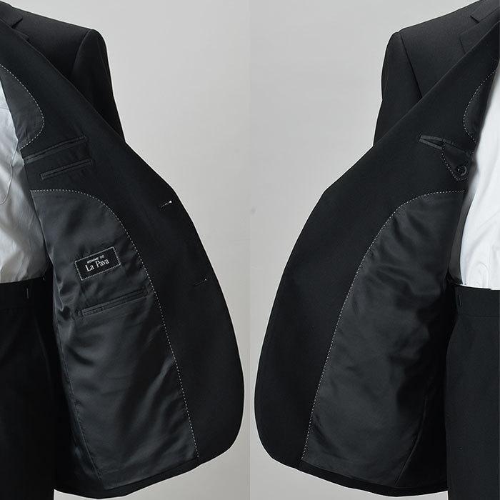 大きいサイズ 礼服 メンズ フォーマルスーツ ビッグ おおきい ゆったり 濃染加工 2つボタン シングル 深みブラックスーツ アジャスター付 黒 喪服  冠婚葬祭|shirt-style|13