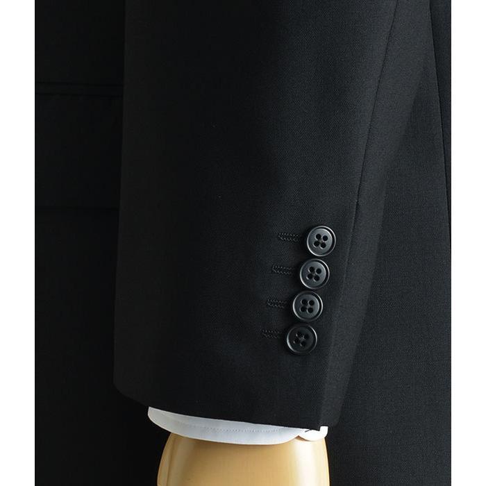 大きいサイズ 礼服 メンズ フォーマルスーツ ビッグ おおきい ゆったり 濃染加工 2つボタン シングル 深みブラックスーツ アジャスター付 黒 喪服  冠婚葬祭|shirt-style|15