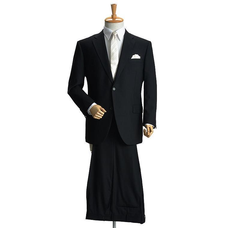 大きいサイズ 礼服 メンズ フォーマルスーツ ビッグ おおきい ゆったり 濃染加工 2つボタン シングル 深みブラックスーツ アジャスター付 黒 喪服  冠婚葬祭|shirt-style|05