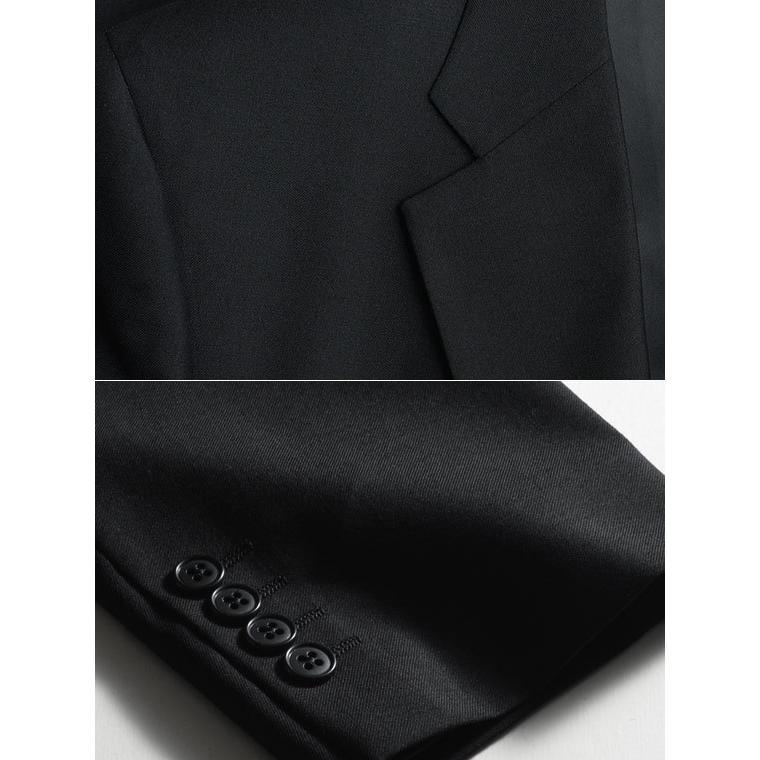 大きいサイズ 礼服 メンズ フォーマルスーツ ビッグ おおきい ゆったり 濃染加工 2つボタン シングル 深みブラックスーツ アジャスター付 黒 喪服  冠婚葬祭|shirt-style|07