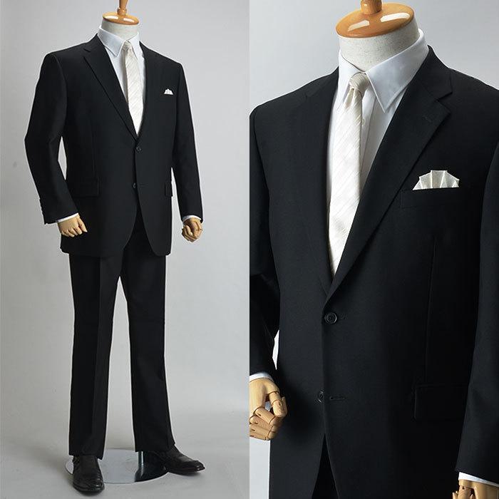大きいサイズ 礼服 メンズ フォーマルスーツ ビッグ おおきい ゆったり 濃染加工 2つボタン シングル 深みブラックスーツ アジャスター付 黒 喪服  冠婚葬祭|shirt-style|10