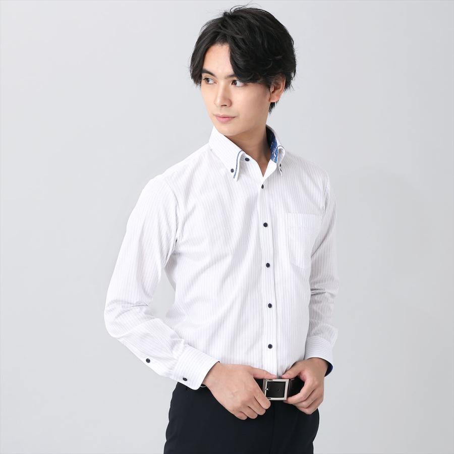 【ディズニー】 ボタンダウン 長袖 形態安定 ワイシャツ 綿100%