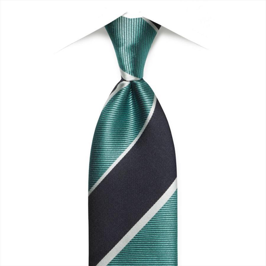 ネクタイ / ビジネス / フォーマル / 絹100% グリーン系 ストライプ柄