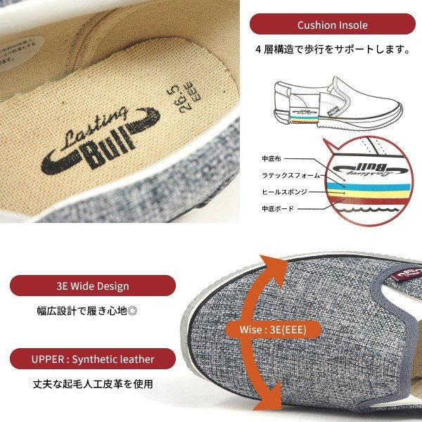 福山ゴム スリッポンスニーカー 作業靴 ラスティングブル LB-031 メンズ shoesbase2nd 03
